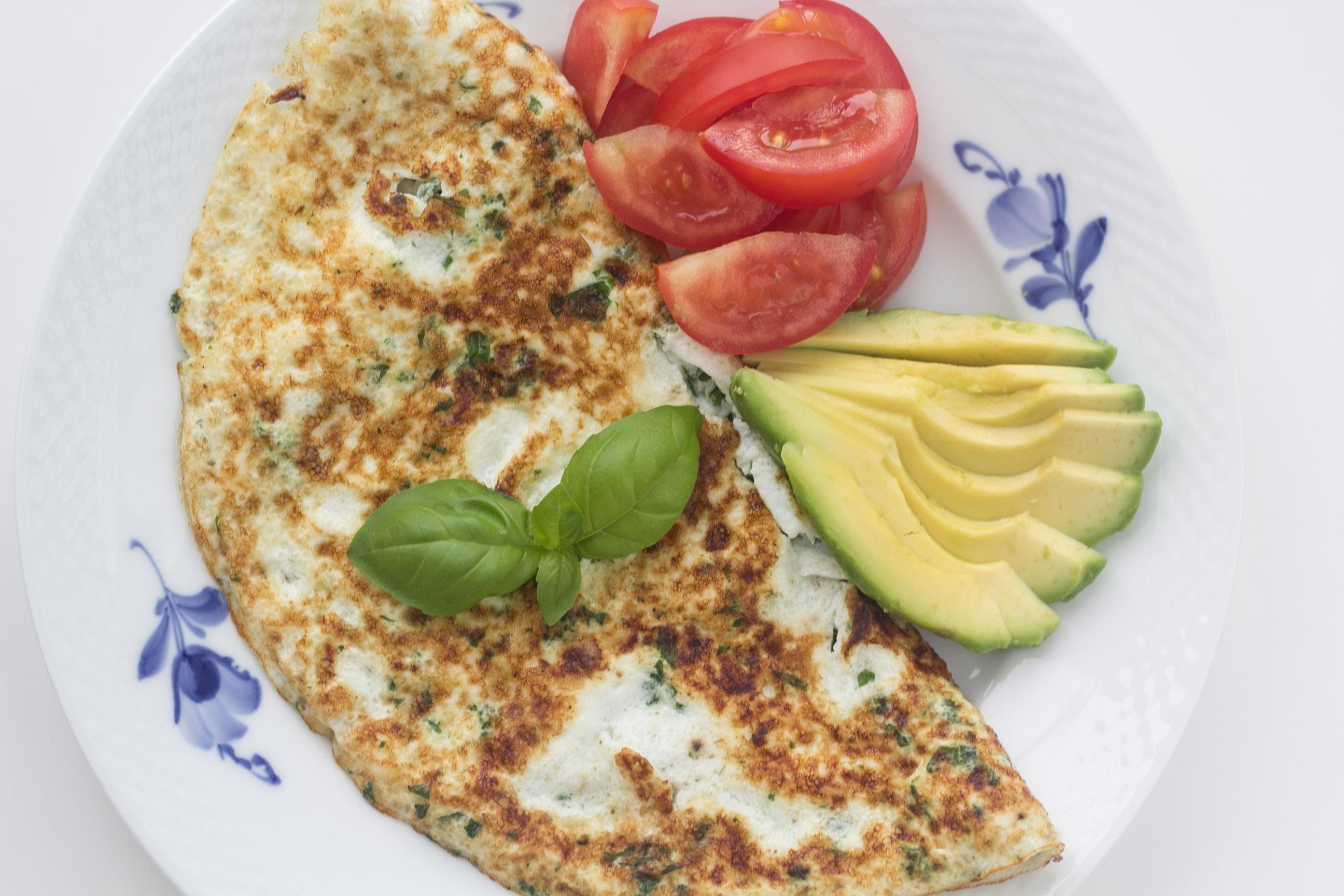 Opskrift på sund omelet med æggehvider