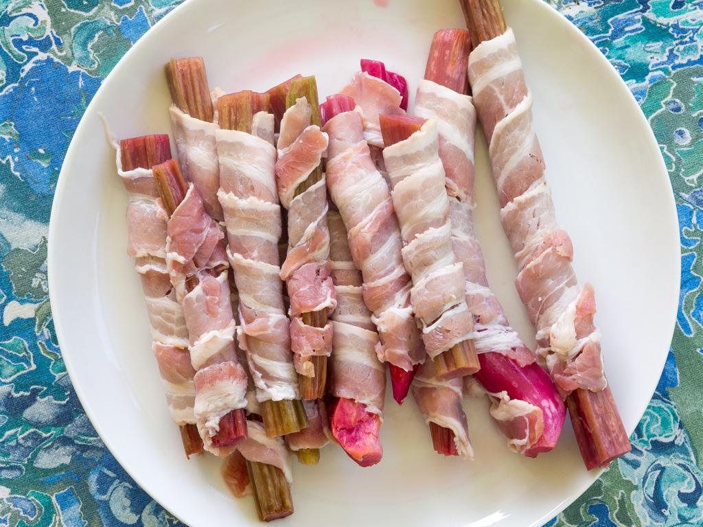 Opskrift på Grillede Rabarber med Bacon