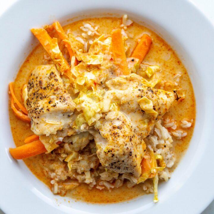 Opskrift på Kylling med spidskål, gulerødder i kokos- og karry sauce main